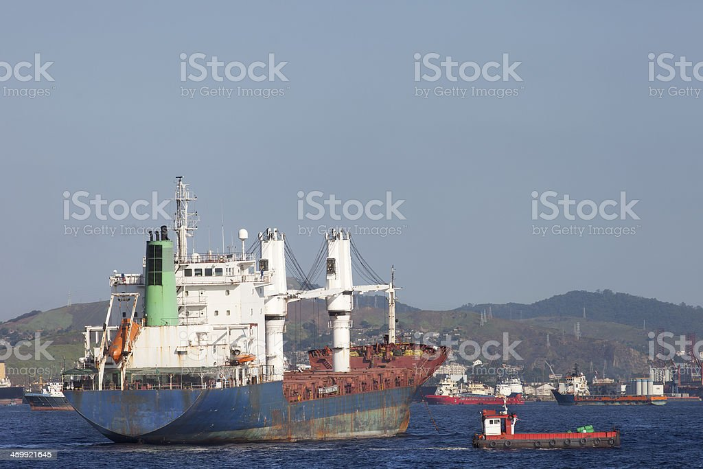 Ships anchored at Guanabara Bay in Rio royalty-free stock photo