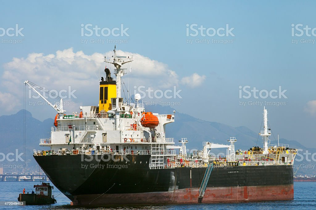 Ships anchored at Guanabara Bay in Rio stock photo