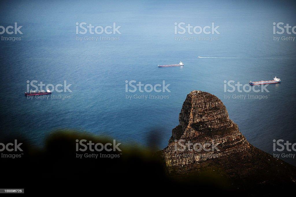 Ships anchored stock photo