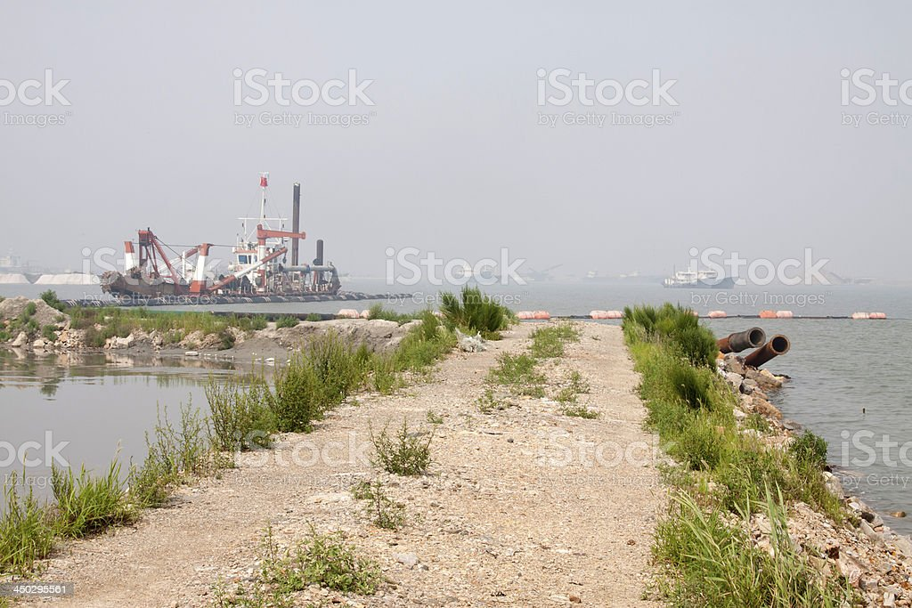ships and dam royalty-free stock photo