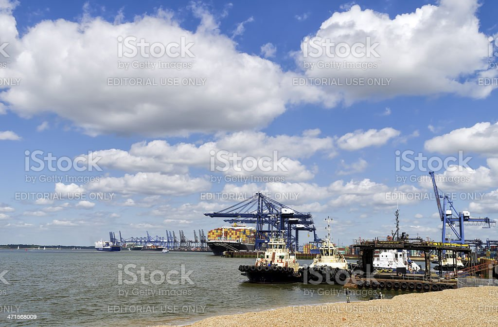 Ships and tugs at Port of Felixstowe royalty-free stock photo