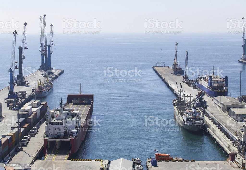 Ships at commercial dock royalty-free stock photo