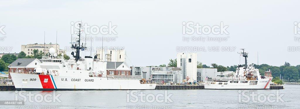USCG ships at Portsmouth Naval Shipyard stock photo