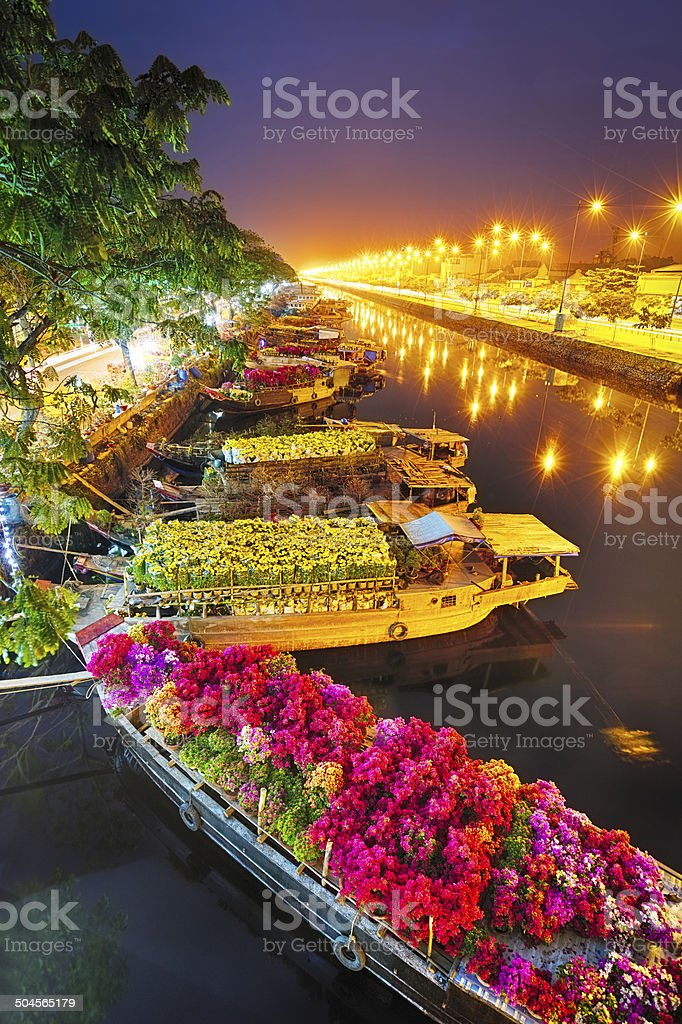 Ships at Saigon Flower Market at Tet, Vietnam stock photo