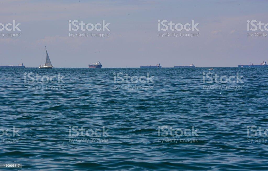 Schiffe auf See Lizenzfreies stock-foto