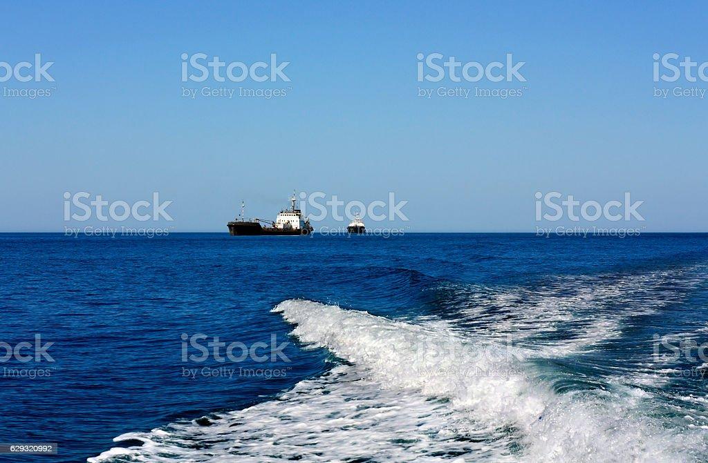 Ships at sea stock photo
