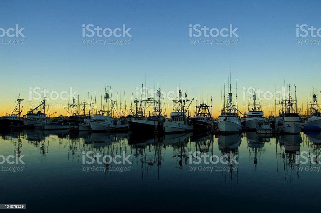 Ships at Sunrise royalty-free stock photo