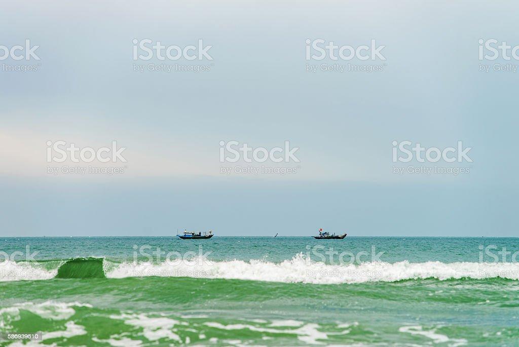 Ships at the China Beach in Danang in Vietnam stock photo