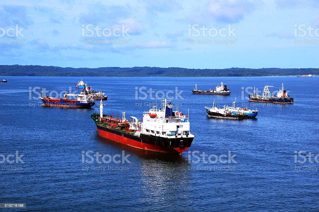 Ships awaiting stock photo