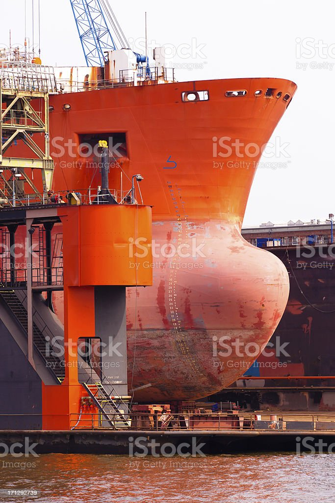Ship«s bow in a dock stock photo