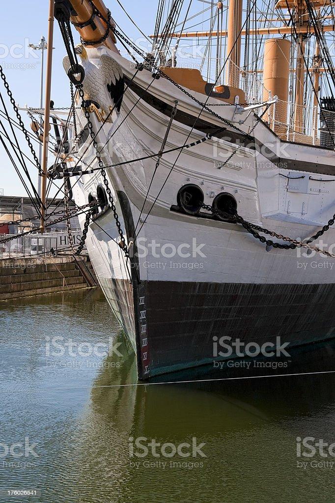 Ship's bows in dock stock photo