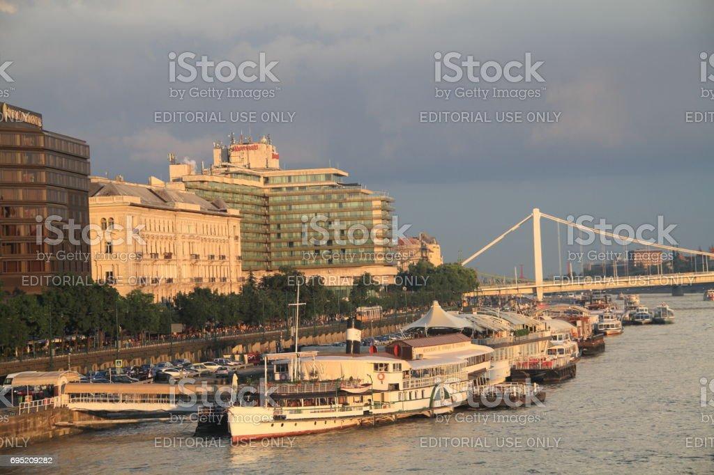 ships docked in danube stock photo