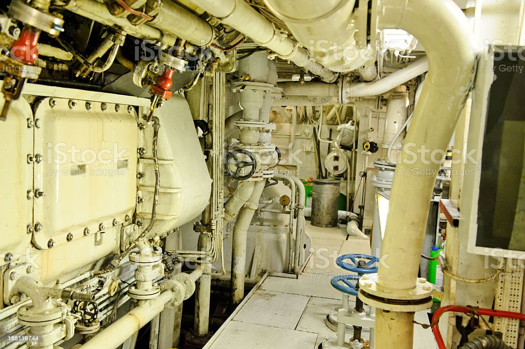 Ship's engine room stock photo