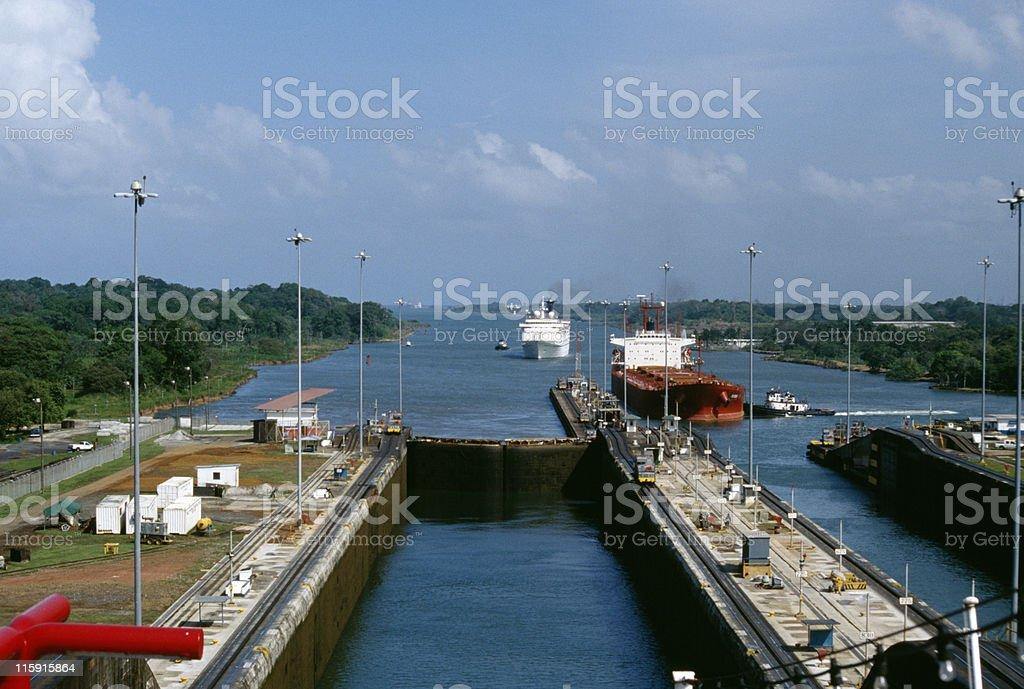ships entering Panama Canal at Gatun Locks stock photo