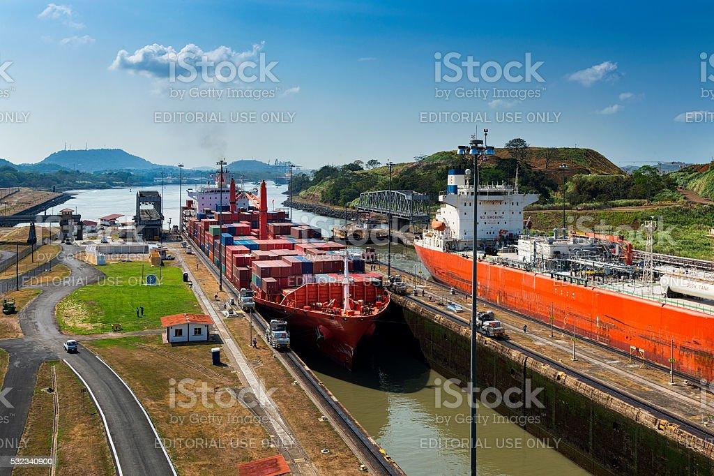 Ships entering the Miraflores gates stock photo