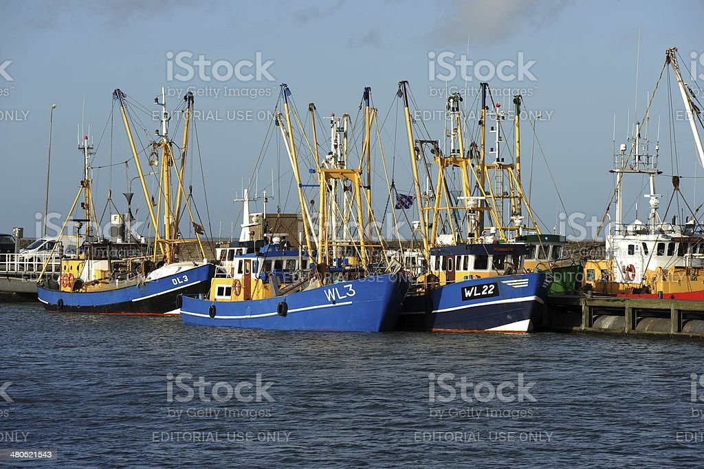 Ships for shrimp fishing moored in a harbour stock photo