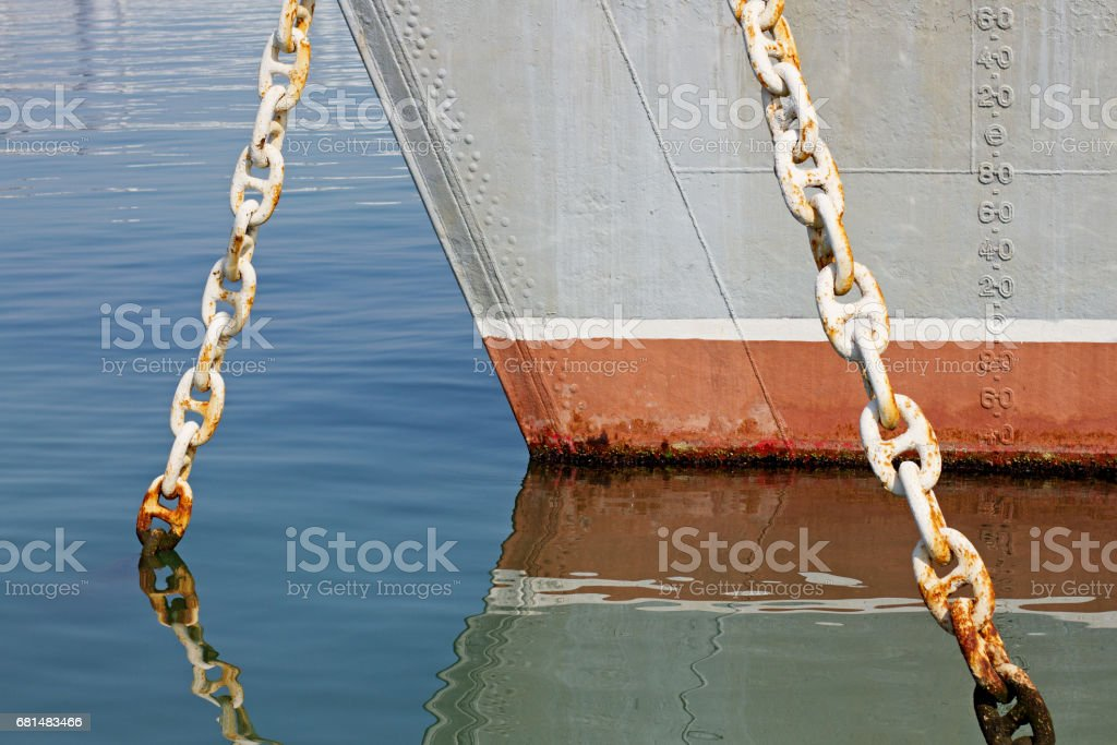 Ship's hull painted with load line and displacement numbers stock photo