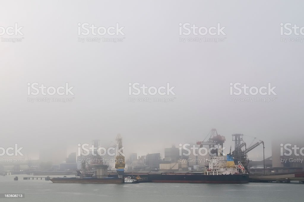 Ships in a coal terminal royalty-free stock photo