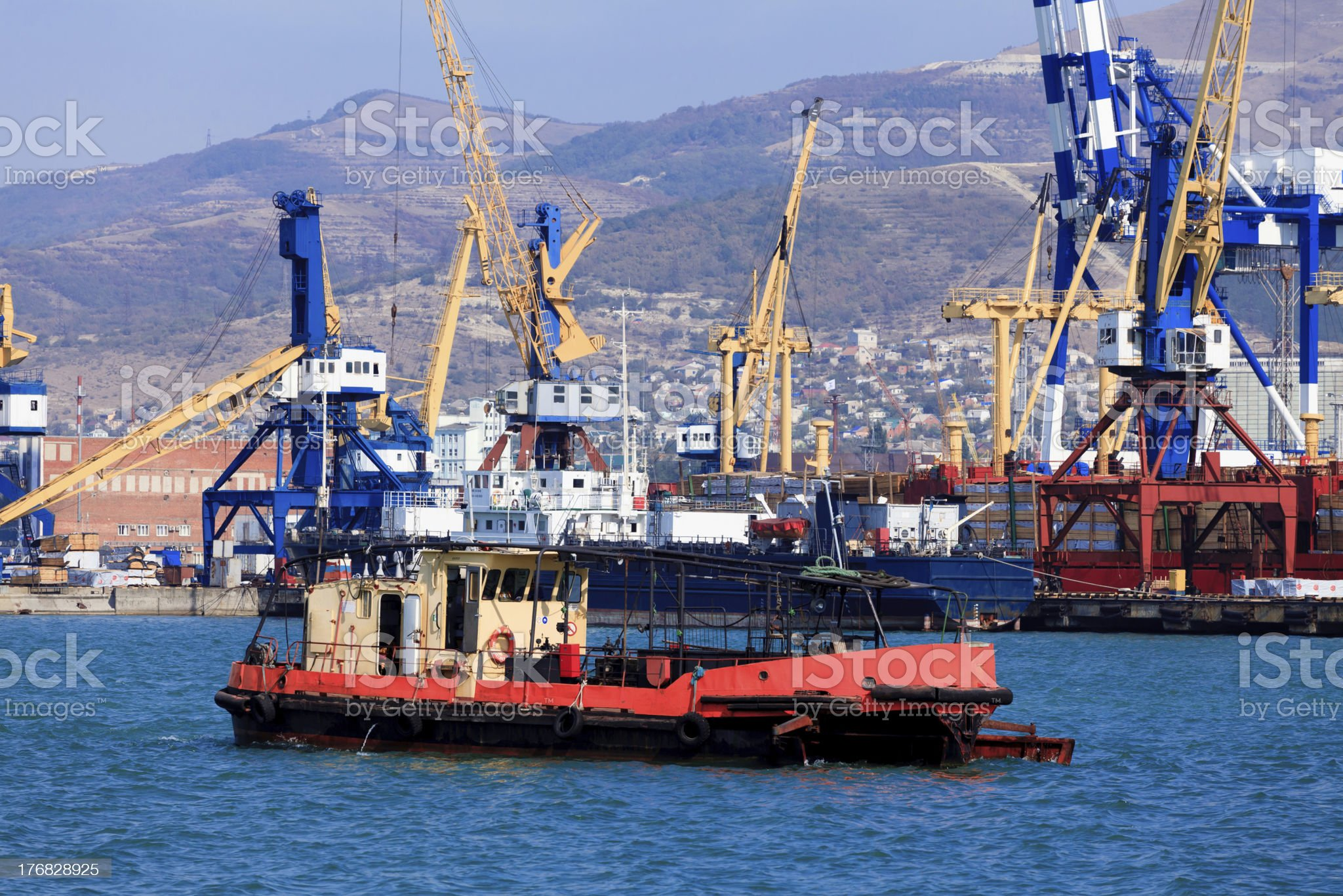 Ships in a port royalty-free stock photo