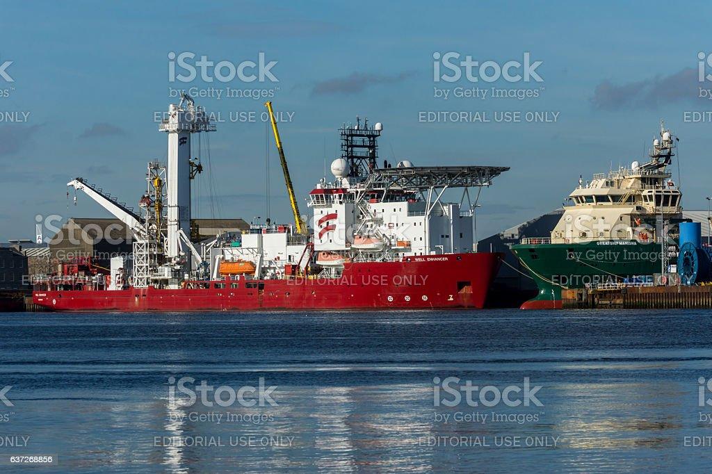 Ships in Aberdeen stock photo