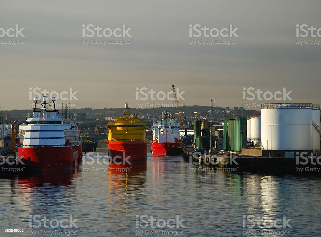 Ships in Busy Aberdeen Harbour stock photo