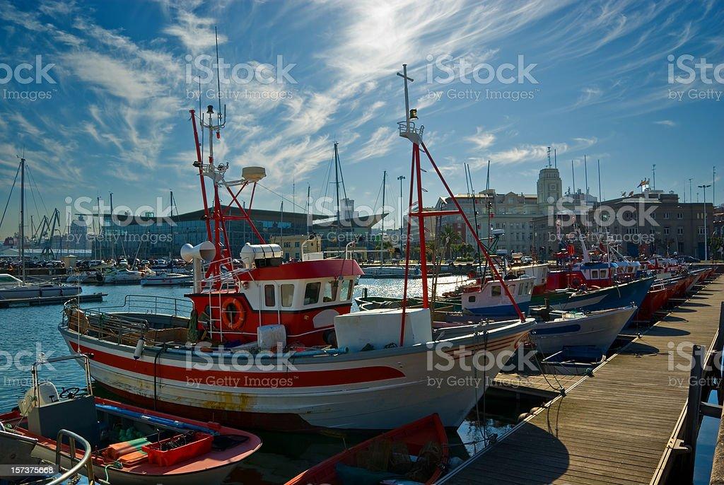 Ships in Coruña stock photo
