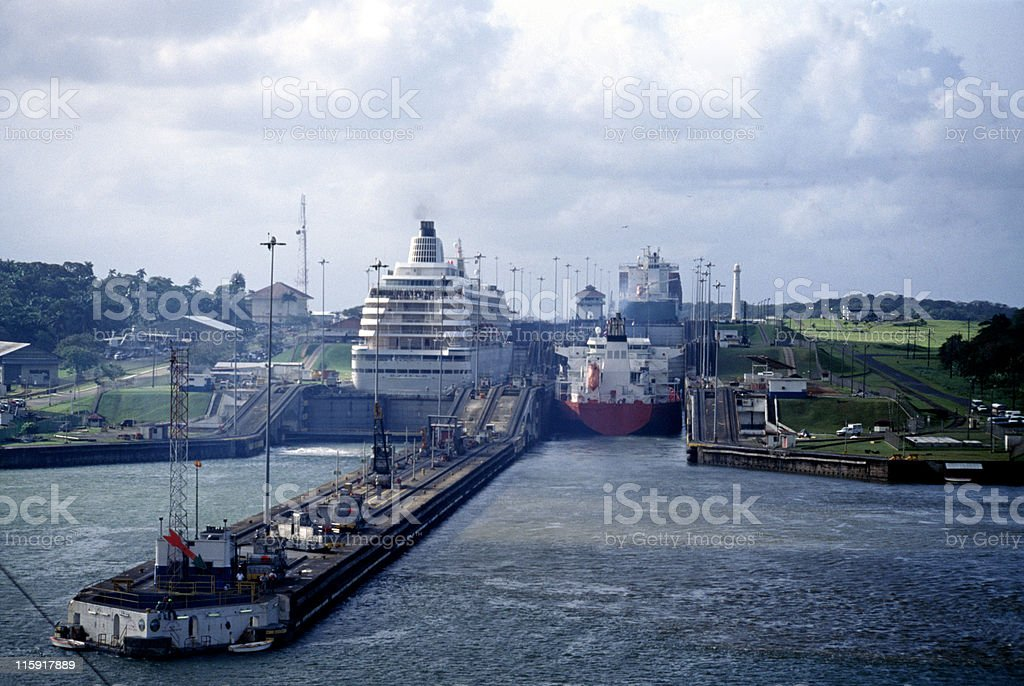 ships in Gatun Locks, Panama Canal royalty-free stock photo