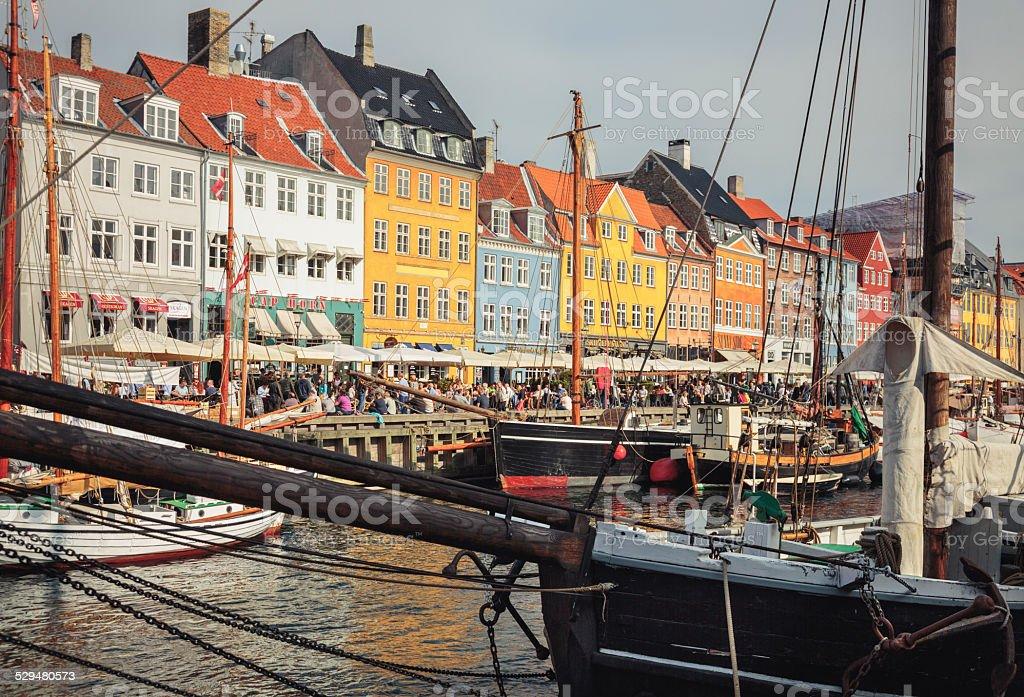 Ships in Nyhavn in Copenhagen. stock photo