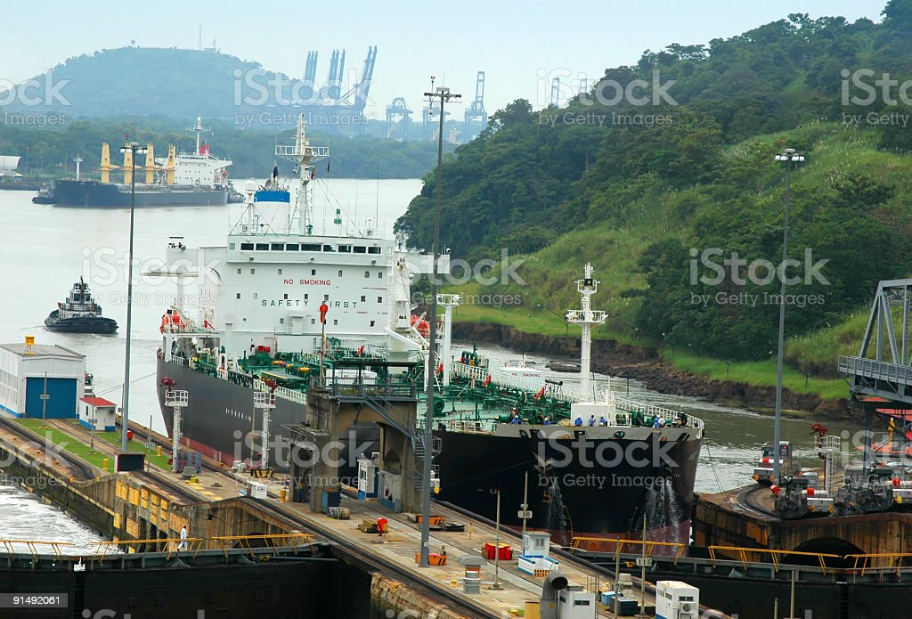Ships in Panama Canal royalty-free stock photo