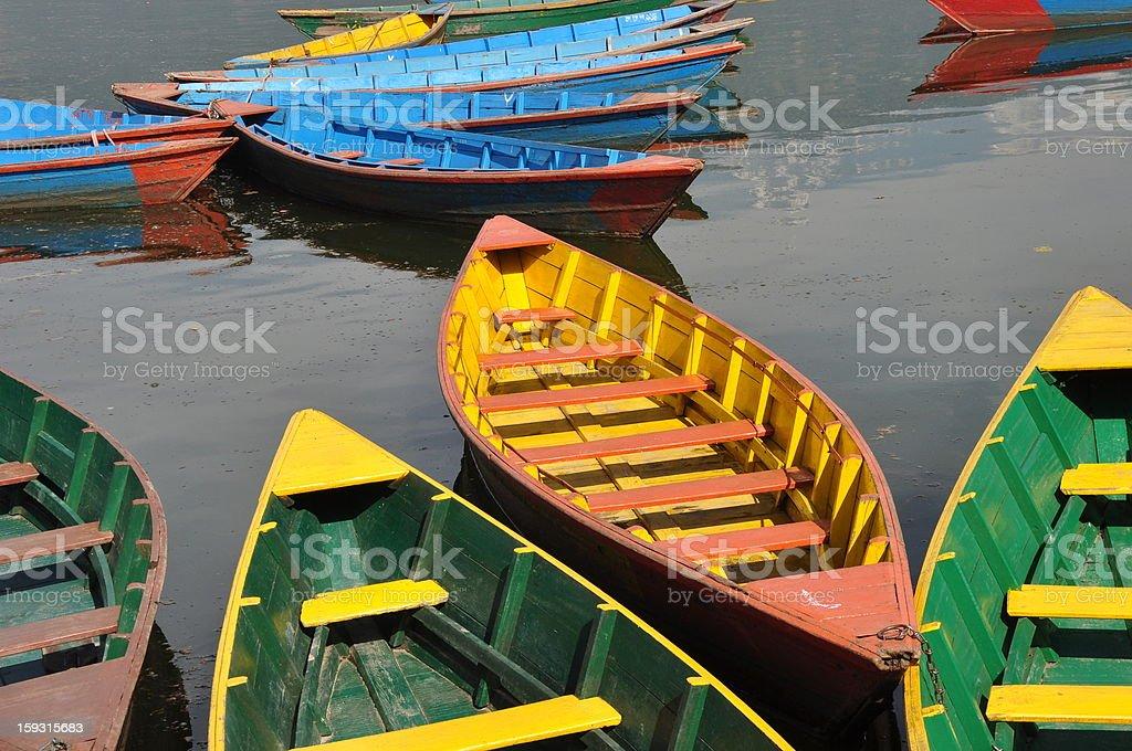 Ships in Pokhara lake royalty-free stock photo