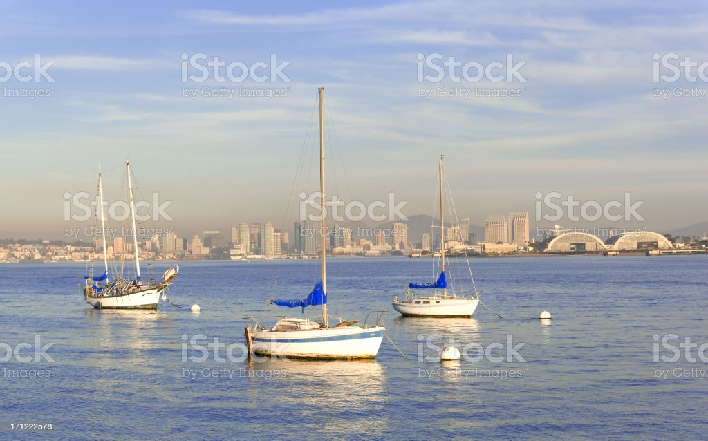 Ships in San Diego Harbor royalty-free stock photo
