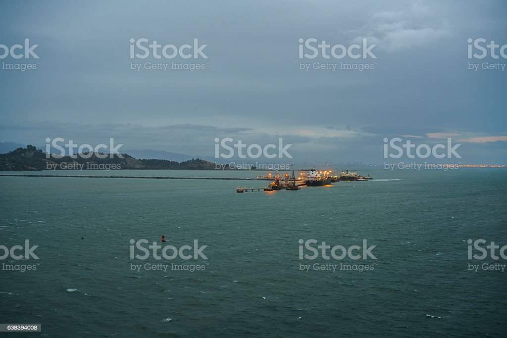 Ships in San Francisco Bay in the stormy weather stock photo