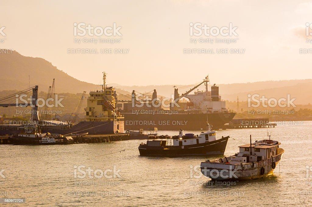 Ships in Sosua stock photo