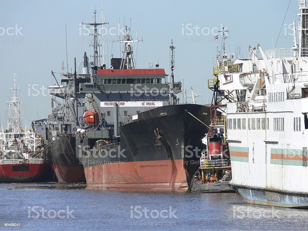 ships in the port of buenos aires royalty-free stock photo