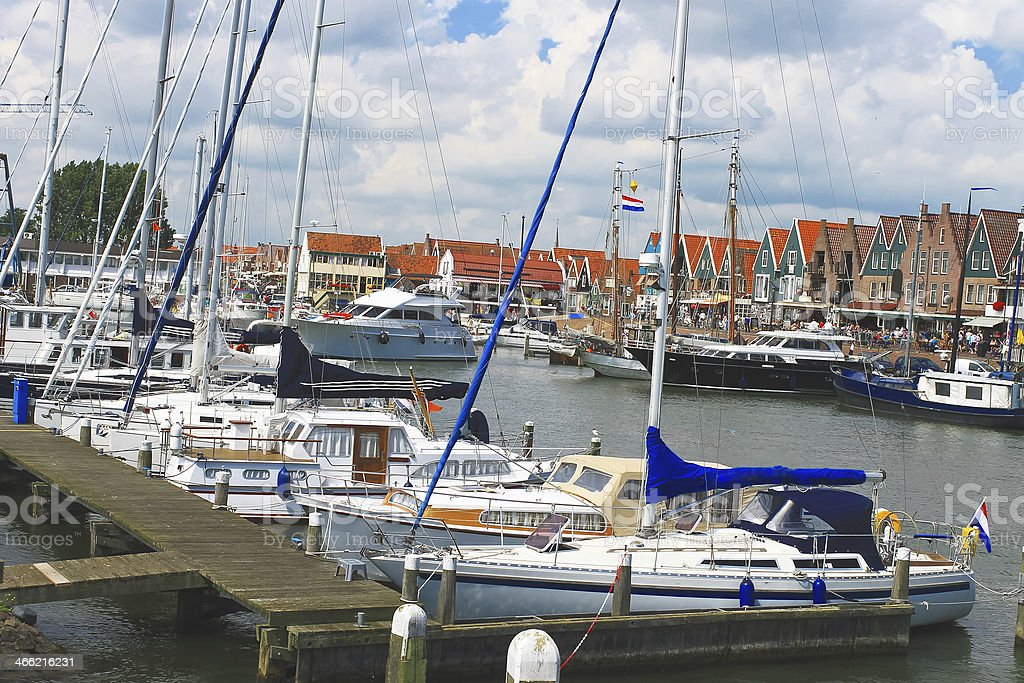 Ships in the port of Volendam. Netherlands stock photo