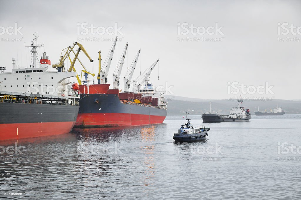 Ships in the port. stock photo