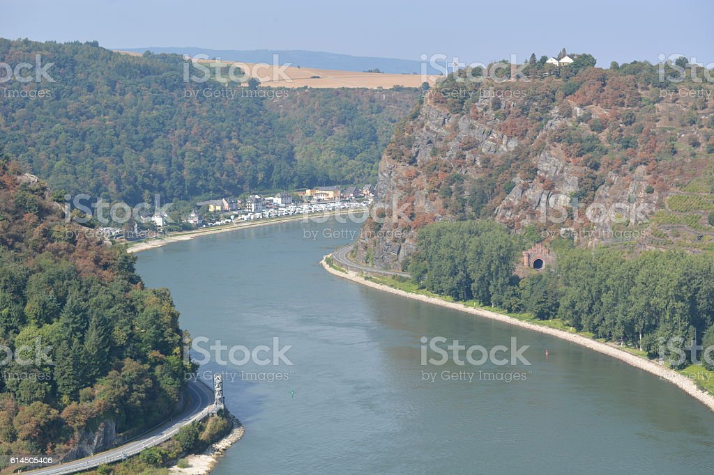 Ships on river rhine stock photo