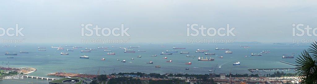 Ships on roadstead panorama stock photo