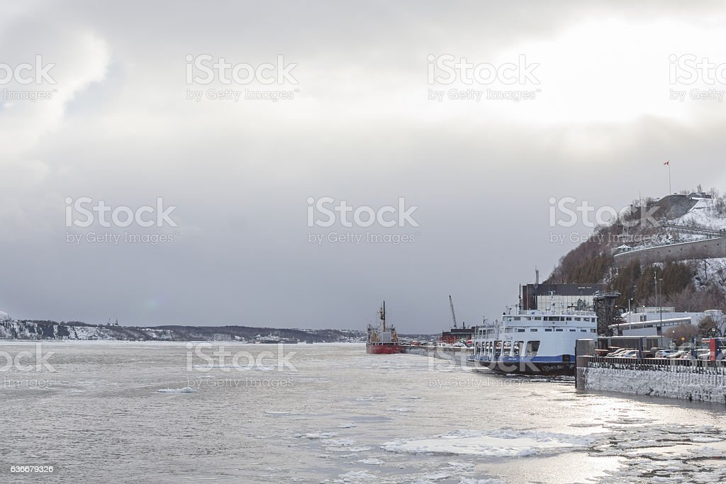 Ships on Saint Lawrence river in winter stock photo