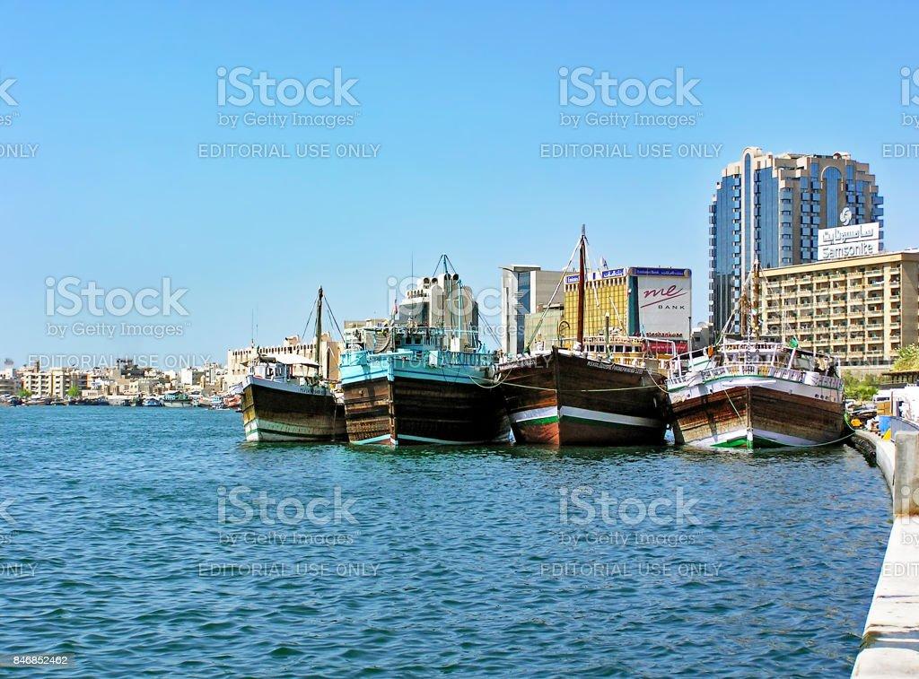 Ships on the Dubai Creek (UAE) stock photo