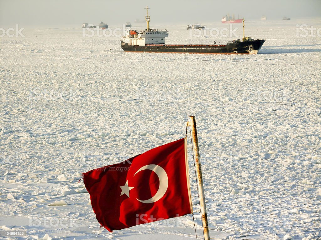 Ships on the Frosted Sea and They are waiting icebreaker stock photo