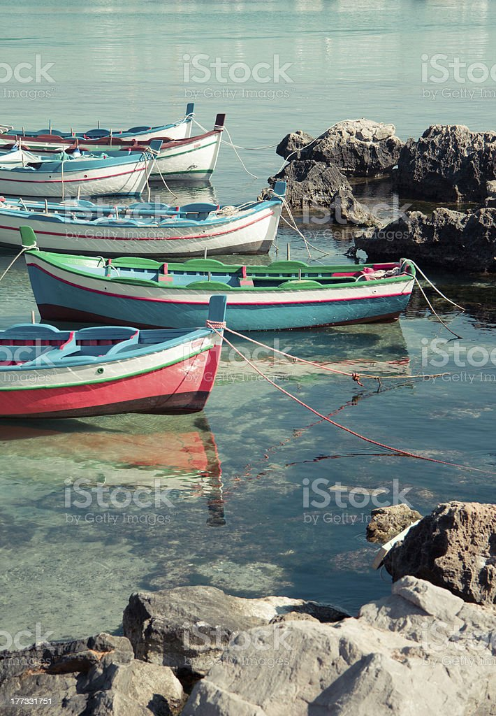 'Ships on the mediterranean sea in Palermo, Sicily' stock photo