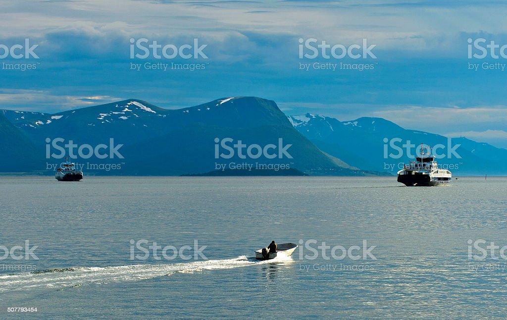 Ships on the Moldefjord near Molde Norway stock photo