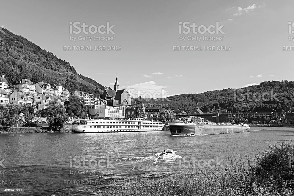 Ships on the Moselle royalty-free stock photo