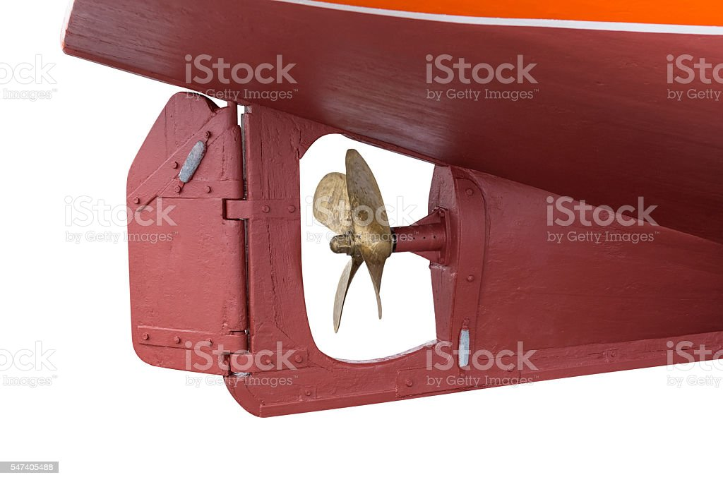 ship's propeller isolated on white background stock photo