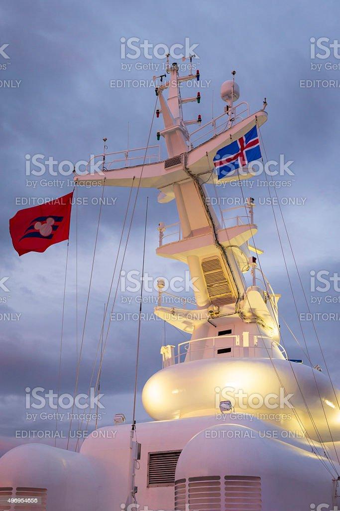 Ship's radio and radar antennas stock photo