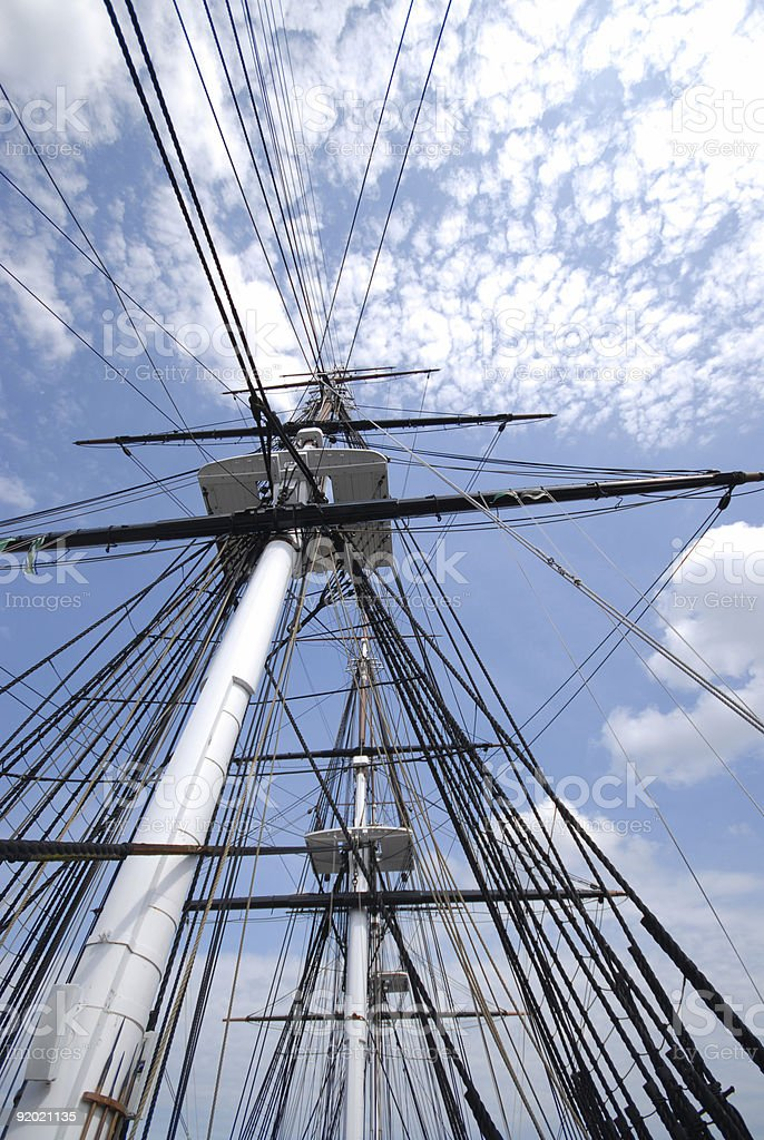 Ship's Rigging with Clouds royalty-free stock photo