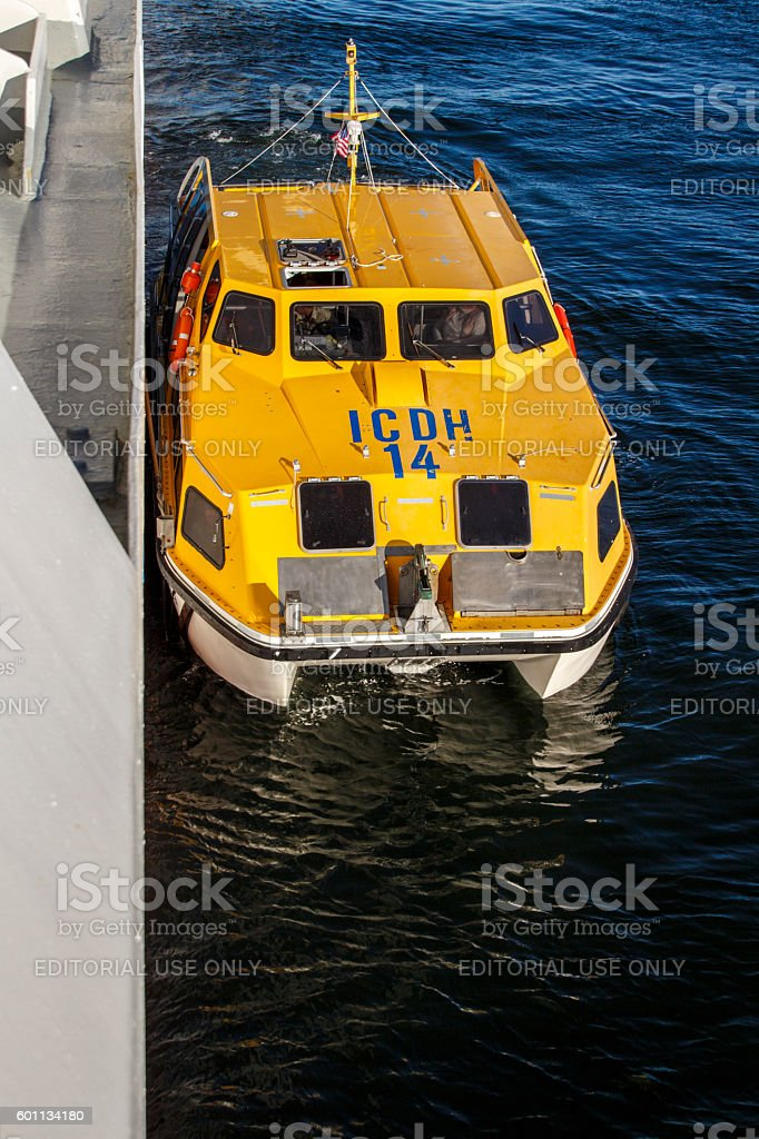 Ship's Tender Boat in Bar Harbor, United States, 2015 stock photo