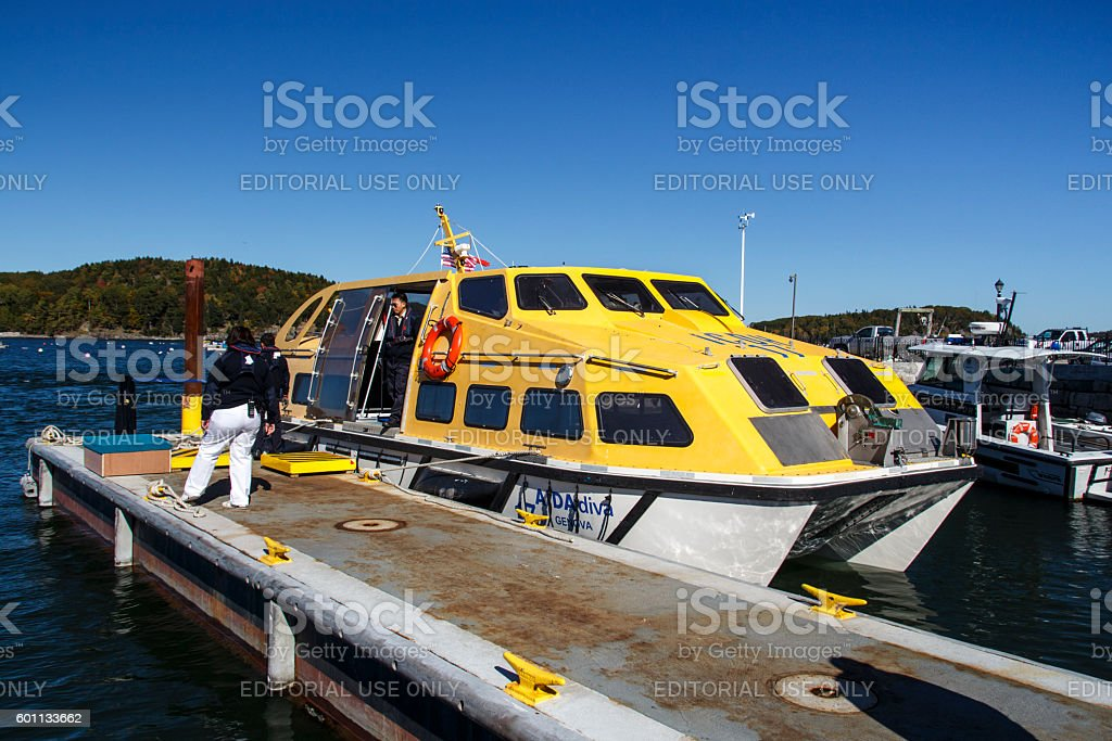 Ship's Tender Boat in Bar Harbor, USA, 2015 stock photo