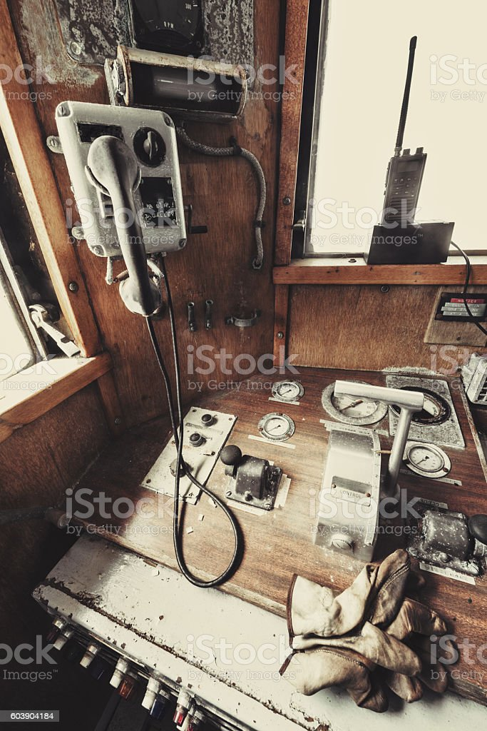 Ship`s Throttle Controls stock photo